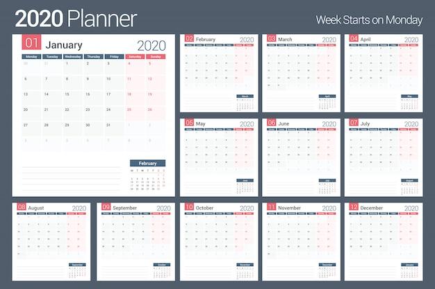 Planejador de calendário 2020