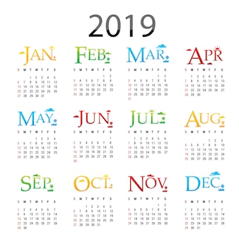 Planejador de calendário feliz ano novo 2019 vetor de cartão