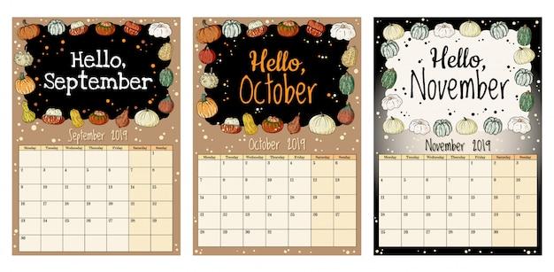 Planejador de calendário outono bonito hygge aconchegante 2019 com decoração de abóboras, setembro, outubro, novembro