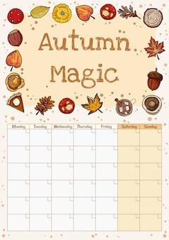 Planejador de calendário outono mágico bonito aconchegante mês hygge com decoração de outono. ornamento de elementos de queda estacionário