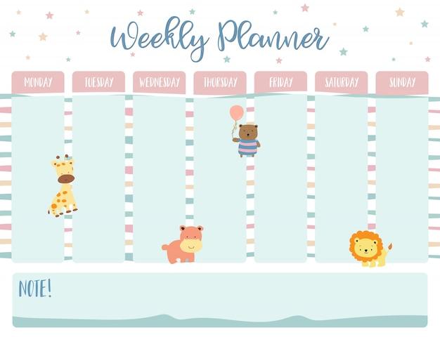 Planejador de calendário semanal em pastel