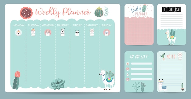 Planejador de calendário semanal pastel com lhama, alpaca, cacto. pode ser usado para impressão, álbum de recortes, diário