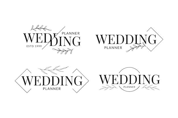 Planejador de casamento com design de logotipo minimalista de decoração floral desenhada à mão