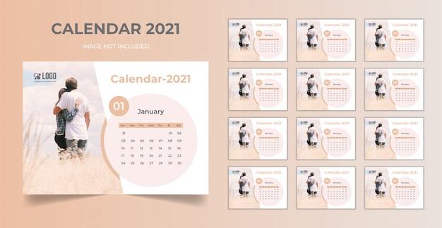 Planejador de data mínima, modelo de calendário de mesa 2021