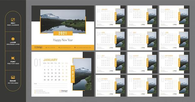 Planejador de data minimalista, modelo de calendário. modelo de calendário de mesa
