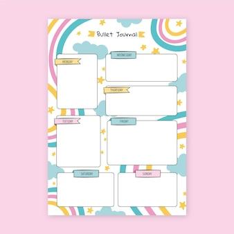 Planejador de diário com marcadores coloridos