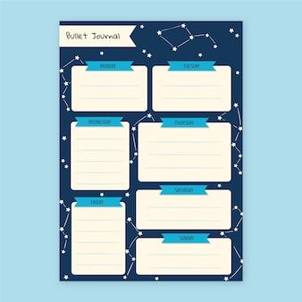 Planejador de diário com marcadores com constelações