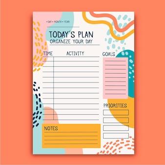 Planejador de diário com marcadores com formas coloridas