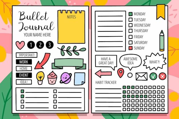 Planejador de diário com marcadores com modelo de elementos