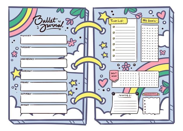 Planejador de diário com marcadores em estilo feminino