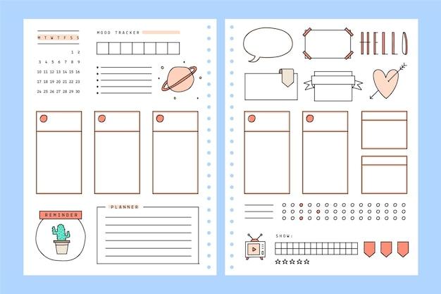 Planejador de diário com marcadores em estilo minimalista