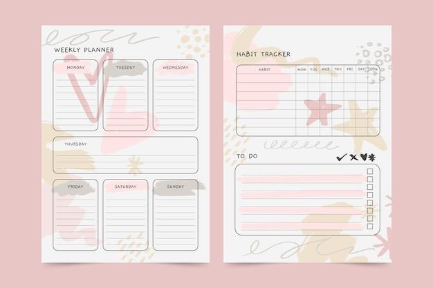 Planejador de diário com marcadores fofo