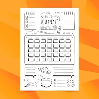 Planejador de diário com marcadores minimalista