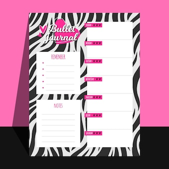 Planejador de diário criativo com padrão zebra