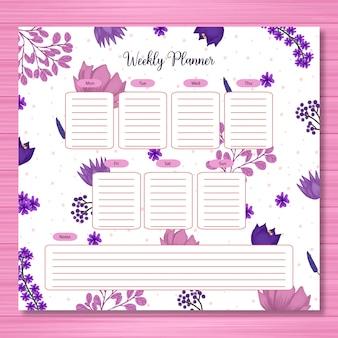 Planejador de estudante com lindo floral roxo
