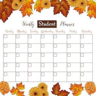 Planejador de estudante semanal com fundo de outono