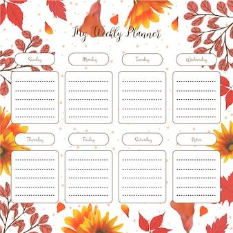 Planejador de estudante semanal com outono floral
