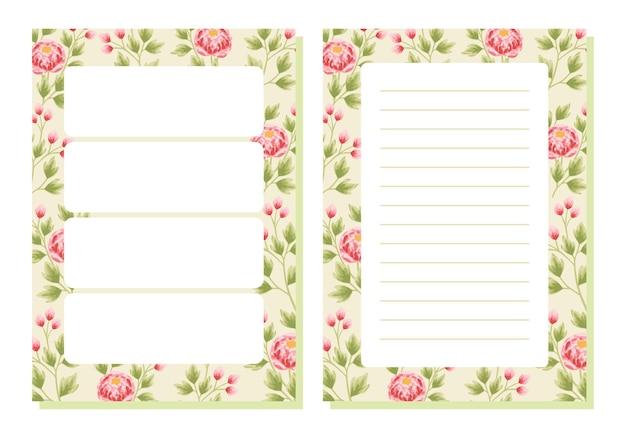 Planejador de flores de peônia vintage e modelo de papel de nota