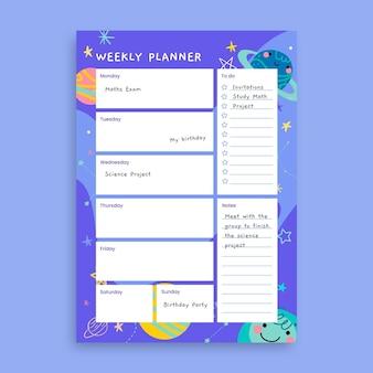 Planejador de galáxias infantil e criativo