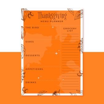 Planejador de menu laranja desenhado à mão para o dia de ação de graças