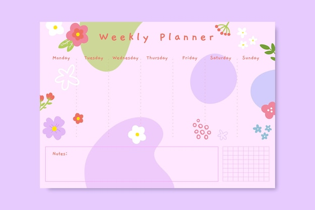 Planejador de primavera floral fofo