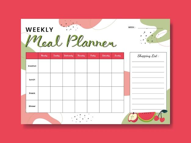 Planejador de refeição semanal de frutas com ilustração de frutas