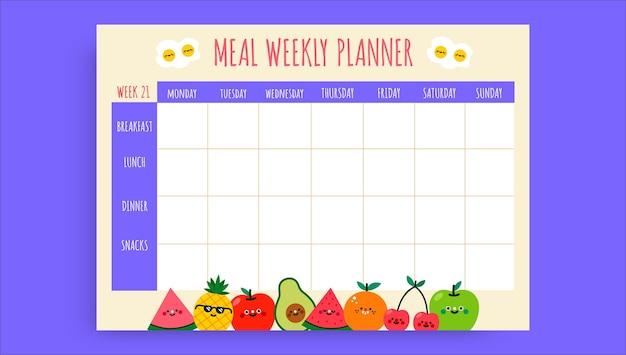 Planejador de refeição semanal infantil colorido