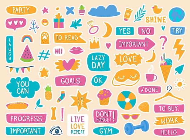 Planejador diário, adesivos de diário fofo, diário, rabiscos, citações de decoração da moda para cadernos, conjunto de vetores