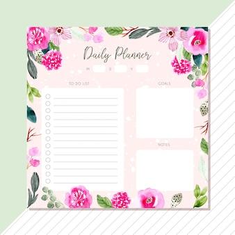 Planejador diário com moldura aquarela flor rosa verde
