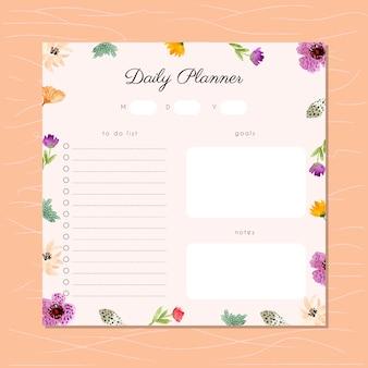 Planejador diário com moldura floral aquarela