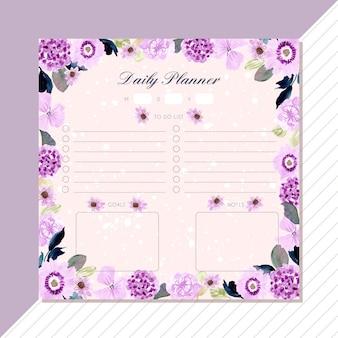 Planejador diário com quadro roxo aquarela floral.