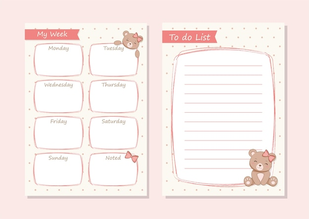 Planejador diário cute she-bear