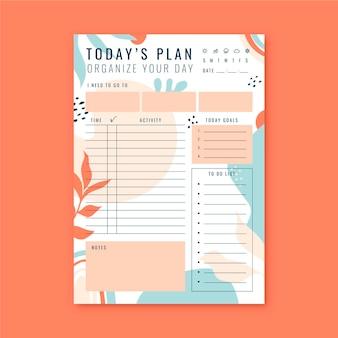 Planejador diário de modelo