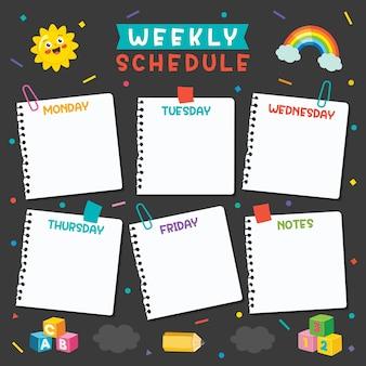 Planejador diário e semanal para crianças