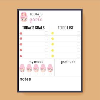 Planejador diário para fazer lista