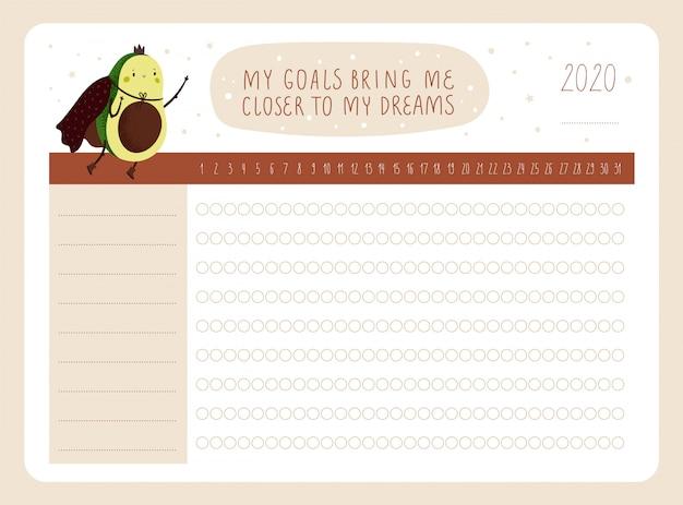 Planejador diário. rastreador de hábitos úteis