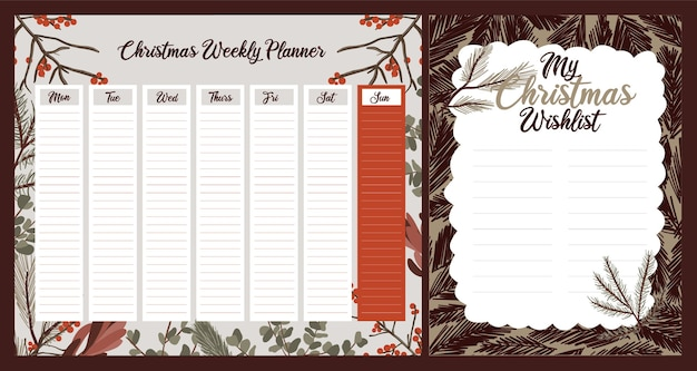 Planejador diário semanal natal temático estilo escandinavo