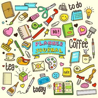 Planejador e jornal cartoon cor doodle ilustração