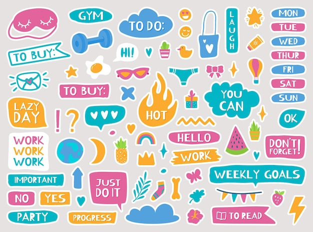 Planejador fofo adesivos diário, caderno, decoração da moda, calendário, lembretes, diário, semanal, doodle, vetorial, conjunto