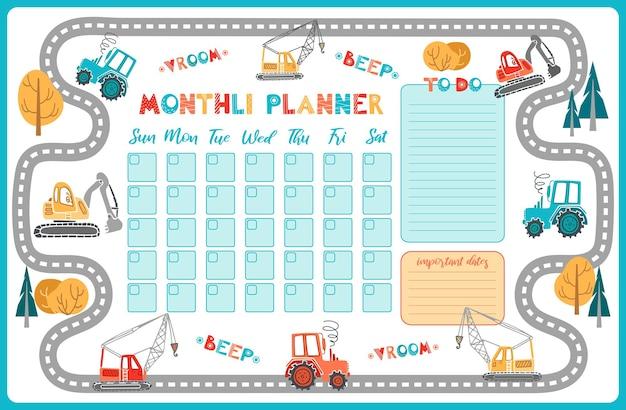 Planejador mensal bonito dos desenhos animados. escavadeira, trator, guindaste.