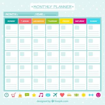 Planejador mensal com ícones
