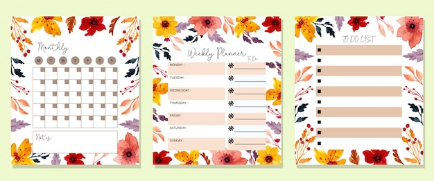 Planejador mensal floral em aquarela