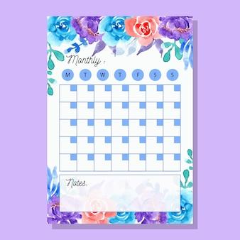 Planejador mensal roxo azul com flor da aguarela