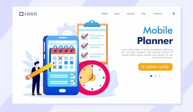 Planejador móvel página inicial página web ilustração vetorial