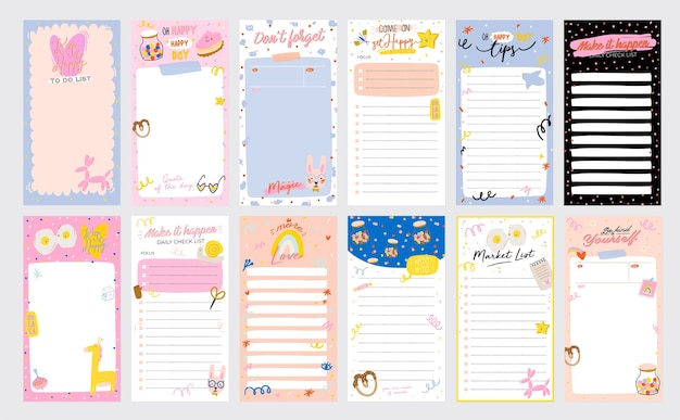 Planejador, papel de nota, lista de tarefas, modelos de adesivos decorados com lindas ilustrações de amor e citações inspiradoras. programador e organizador escolar. plano