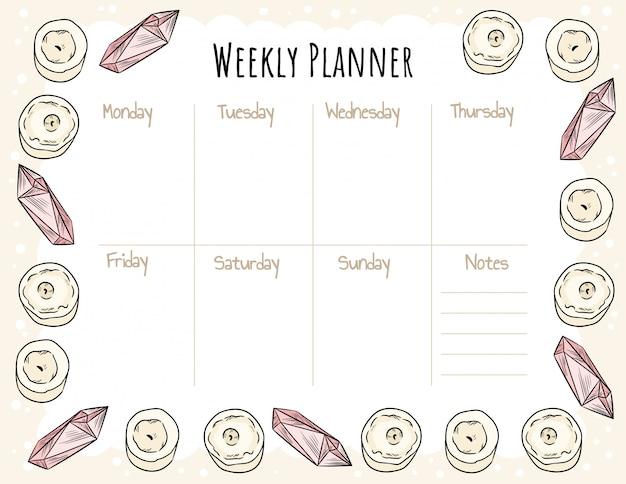Planejador semanal boho acolhedor e lista de afazeres com velas e ornamentos de cristais de quartzo. bonito modelo para agenda, planejadores, listas de verificação. estacionário