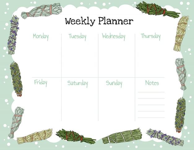 Planejador semanal boho acolhedor e para fazer a lista com ornamento de palitos de borrão. modelo bonito para agenda, planejadores, listas de verificação e artigos de papelaria