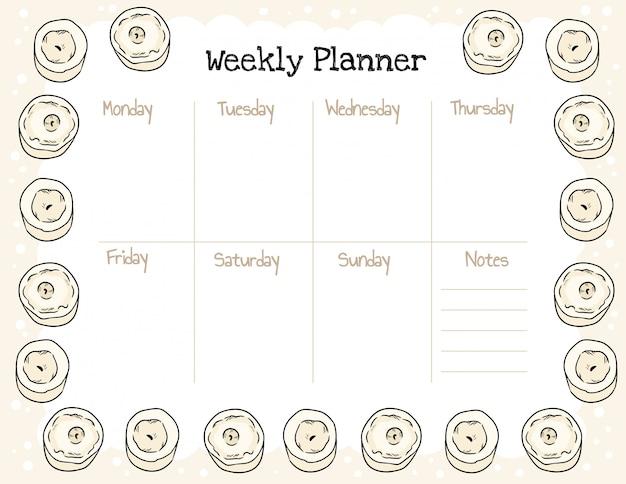 Planejador semanal boho acolhedor e para fazer a lista com ornamento de velas.
