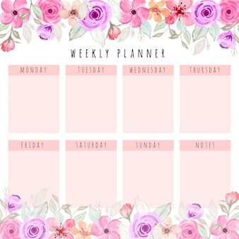 Planejador semanal bonito com aquarela floral