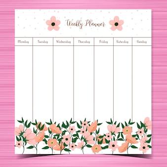 Planejador semanal bonito com flores cor de rosa